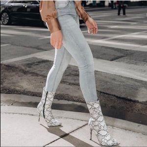 Steve Madden whimsy snake print ankle bootie heels